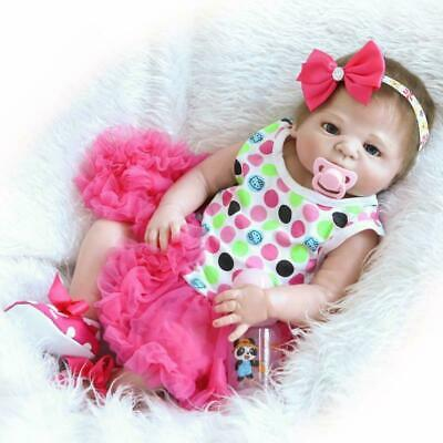 "23""Reborn Full Body Silicone Girl Baby Doll Newborn Preemie Dolls Babies"