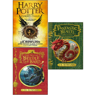 J.K. Rowling Collection 3 Books Set Harry Potter Cursed Child Fantastic Beasts