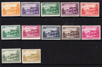 Norfolk Island 1947 Ball Bay Set To 2/- With Creasre Mint Unhinged, Mint Hinged