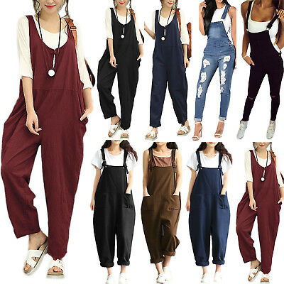 Women Sleeveless Overalls Casual Playsuit Jumpsuit Long Pants Trousers Plus Size