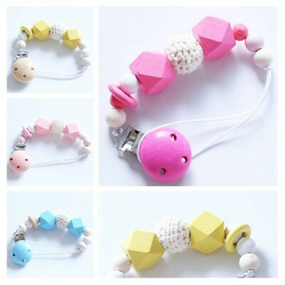 Teething Dummy Wooden Soother Silicone Holder Gift For Baby Chew Pacifier Clip