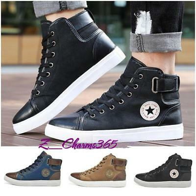 Mens Lace Up Casual Flat Hi High Top Ankle Boots Shoes Trainers Sneakers Size La