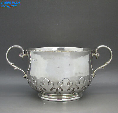 ARTS & CRAFTS GOOD HEAVY SOLID STERLING SILVER SUGAR BOWL, G&S, 310g LONDON 1919