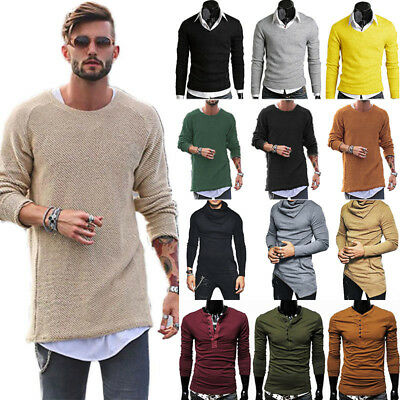 Mens Casual Long Sleeve Sweater Jumpers Plain Muscle T-Shirts Knitted Sweatshirt