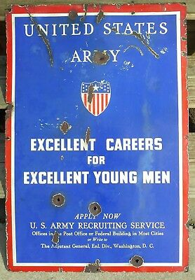 US Army, US Air corps WWII  Double Sided Aviation Porcelain Recruitment Sign