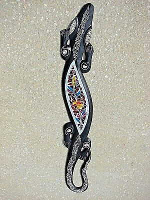 """New Design Stained Glass Gecko Lizard Wood Wall Plaque Patio Home Decor 39"""""""