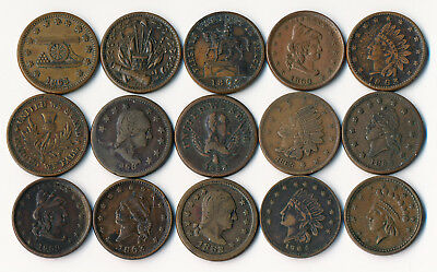 Fifteen (15) Civil War Tokens (Nice Lot >>> See The Pictures  >>> No Reserve