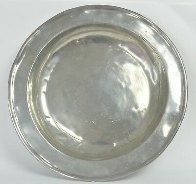 Large Antique Pewter Dish. 14 inches wide. 36cm.Continental, 18th Century.