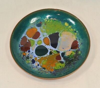 Vintage WIN NG Enamel on Copper Bowl Mid Century Modern Abstract Blue Tones