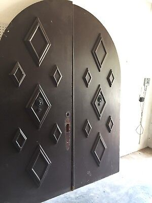 FREE SHIPPING Huge Arch Vtg Antique Gothic Mission Church Double Entry Doors 8'