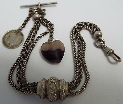 Beautiful English Antique Victorian 1890 Solid Sterling Silver Albertina Chain