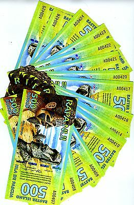LOT Easter Island, 20 x 500 Rongo, 2011 or 2012, Polymer, UNC