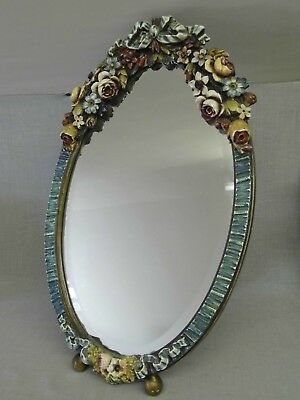 BEAUTIFUL LARGE VINTAGE 1930s  BARBOLA WARE OVAL FLORAL BEVELLED MIRROR ON STAND