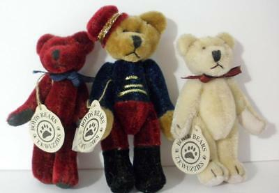 Lot Of 3 Boyds Bears Miniature Wuzzies-Timothy-Farley And Tess