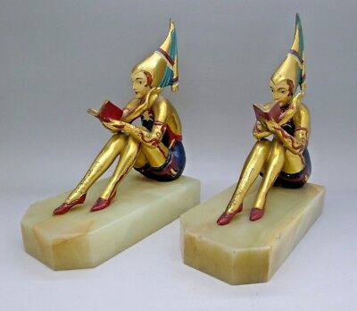 French Gilt Bronze Female Rare Painted Art Nouveau Book ends Must See