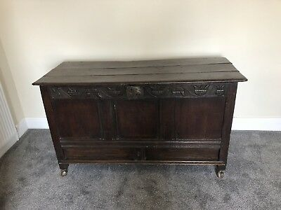 Antique Vintage Deep Wooden Chest Trunk Hand Crafted - Blanket Toy Box