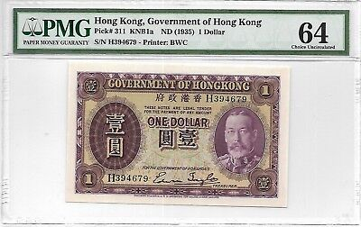 Hong Kong Government - $1, nd (1935). PMG 64. Original Choice Unc w/ embossing.