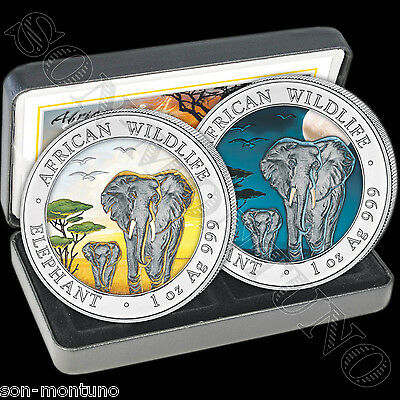 2015 Somalian ELEPHANT DAY & NIGHT Colorized Silver 2 Coin Set AFRICAN WILDLIFE