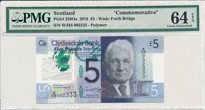 Clydesdale Bank  Scotland  5 Pounds 2016 Low No 002333 PMG  64EPQ  Polymer