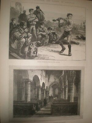 George Stephenson hammer throwing as child & Newburn Church 1881 prints ref AT