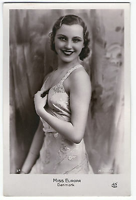Cpa 11 Art Deco Miss Europa Ase Clausen Danemark Concours Mode Charme Mannequin