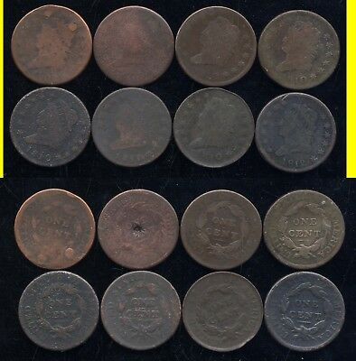 Lot Of 8 Draped Classic Large Cents- Scarce- No Reserve