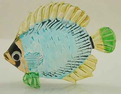 Glass Figurine Fish Tropical Handpainted Yellow/blue sunfish Approx 3 inch long