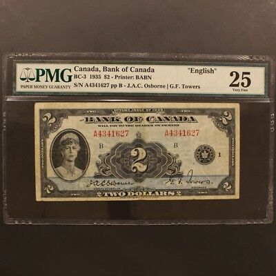 Canada 2 Dollars 1935 BC-3 English Text Banknote PMG 25 - Very Fine