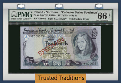 Tt Pk 248Cs2 1977 Northern Ireland 5 Pounds Specimen Same Serial # Pmg 66Q Gem!