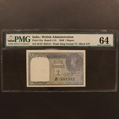India Rupee 1940 P#25a Banknote PMG 64 - Choice Uncirculated