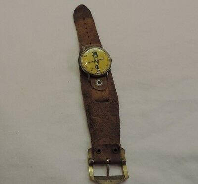 Vintage 1970's Mr. Peanut Watch with Date 30mm Yellow Face & Band ~!