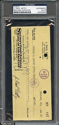 J. Paul Getty Signed 1948 Check PSA/DNA Autographed AUTO Oil Tycoon