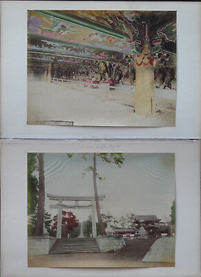 c1880, 2 ANTIQUE JAPANESE ORIGINAL HAND COLOURED ALBUMEN PHOTOGRAPHS IN KYOTO