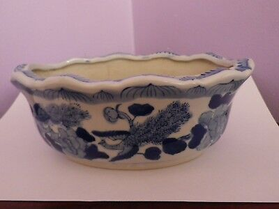 Fab Chinese Oval Blue & White Peacocks & Flowqers Design Plant Pot 20 Cms Long