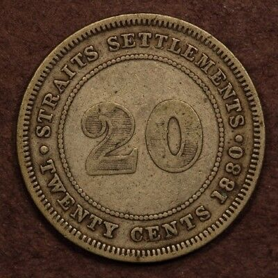 Straits Settlements 20 Cents 1880-H Silver F+