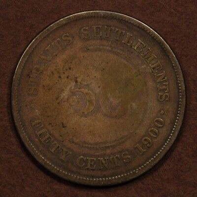 Straits Settlements 50 Cents 1900-H Silver VG+/G
