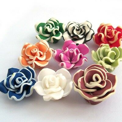 10pcs Multi-Color Rose Polymer Clay Beads Finding--20mm*9mm