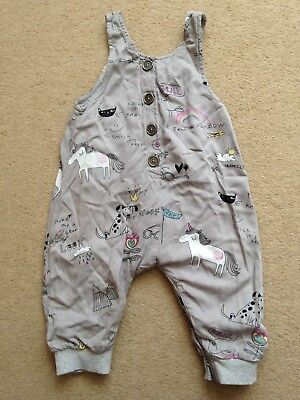Next - Girl's Dungarees with Unicorns and Rainbows Design - 6-9 months