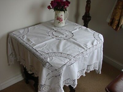 "Lovely vintage white linen tablecloth with abundant hand crochet lace 54"" square"