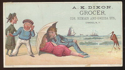 1880-90S Trade Card, A K Dixon, Grocer, Cohoes, N.y. Cute Beach Scene
