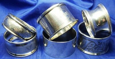 COLLECTION OF 6 SOLID SILVER NAPKIN RINGS FULLY HALLMARKED ~ NOT SCRAP ~ 110 g