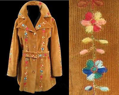 1970's EMBROIDERED CORDUROY JACKET Coat Rainbow Vintage Brushed 1960's Hippie S