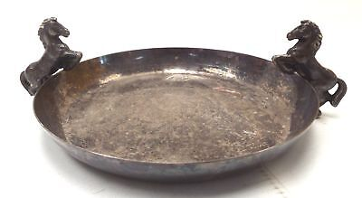 White Metal Flat-Bottomed COLLECTION PLATE / DISH With Horse Handles - S25
