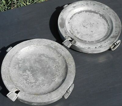 2x ANTIQUE PEWTER DISH WARMERS - WARMING PLATES - LONDON TOUCHMARKED