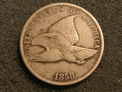 1858 SL Small Letters Flying Eagle Cent F