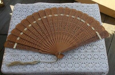 "RARE Vintage 9"" Antique Sandalwood Hand Fan & Tassel Collectible Oriental China"