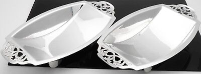 Pair Art Deco Nibbles Dishes - 1937 - Silver Plated - Vintage
