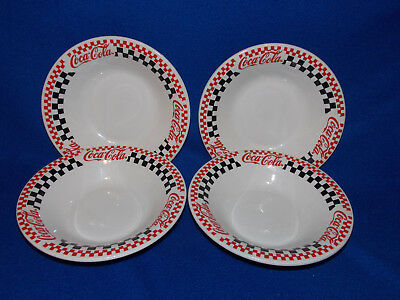 4 Pieces Coca Cola Gibson 8 Inch Checkered Serving Soup Bowls 1997 Advertising