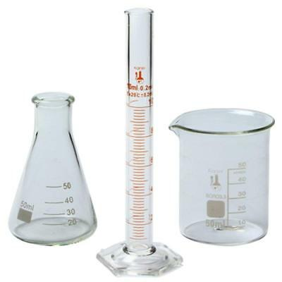 50ml Beaker, 50ml Flask, and 10ml Cylinder Set, 3.3 Boro. - Karter Scientific