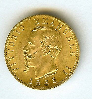 Italy 1865-Tbn Gold 20 Lire  Choice Uncirculated